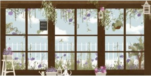 Papel de ventanas con jardin de Little Hands