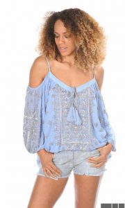 Blusa azul bordada de Tuit Fashion Home